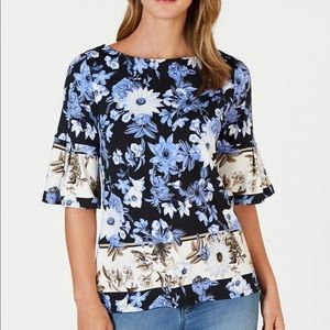 Charter Club Petite Med Floral  Bell Sleeve Top
